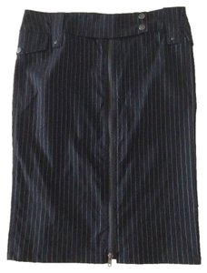 Arden B Pinstripe Front Zipper Skirt Black