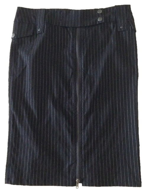 Arden B. Pinstripe Front Zipper Skirt Black