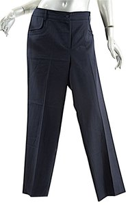 Chanel Wool Twill Straight Pants Navy