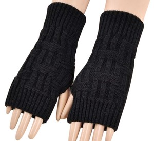 Black Knit Acrylic Fingerless Gloves Arm Warmers Free Shipping