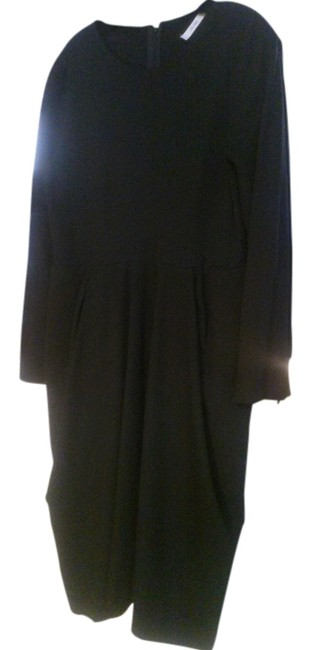 Item - Black 44 Fitted Mid-length Work/Office Dress Size 12 (L)