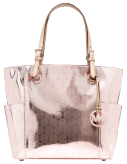 ce3dd0cceb16 Michael Kors Signature East West Rose Gold Metallic Leather Tote ...