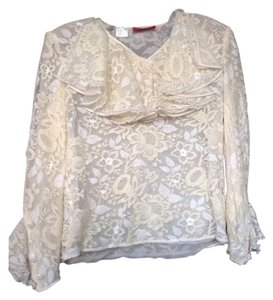 Valentino Lace Vintage Ruffle Top ivory blouse