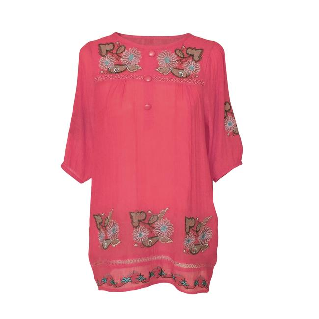Red Blouse with Floral Embroidered Design and Button Front Tunic Size 16 (XL, Plus 0x) Red Blouse with Floral Embroidered Design and Button Front Tunic Size 16 (XL, Plus 0x) Image 1