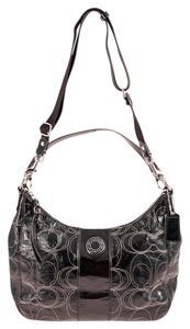 Coach Patent Monogram Silvertone Hardware Satchel in Black