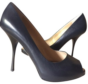 Giuseppe Zanotti Peep Toe Hidden Platform Pump Navy Pumps