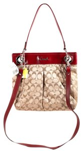 Coach Monogram Khaki Patent Leather Silvertone Hardware Satchel in Khaki/Red