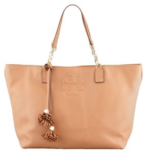 Tory Burch Thea Handbag Peddle Leather Tassle Tote in nutmug