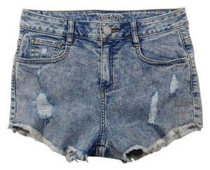 3ef46f6a41b Refuge Jeans High Waisted Distressed Acid Wash Stretchy Cut Off Shorts Denim