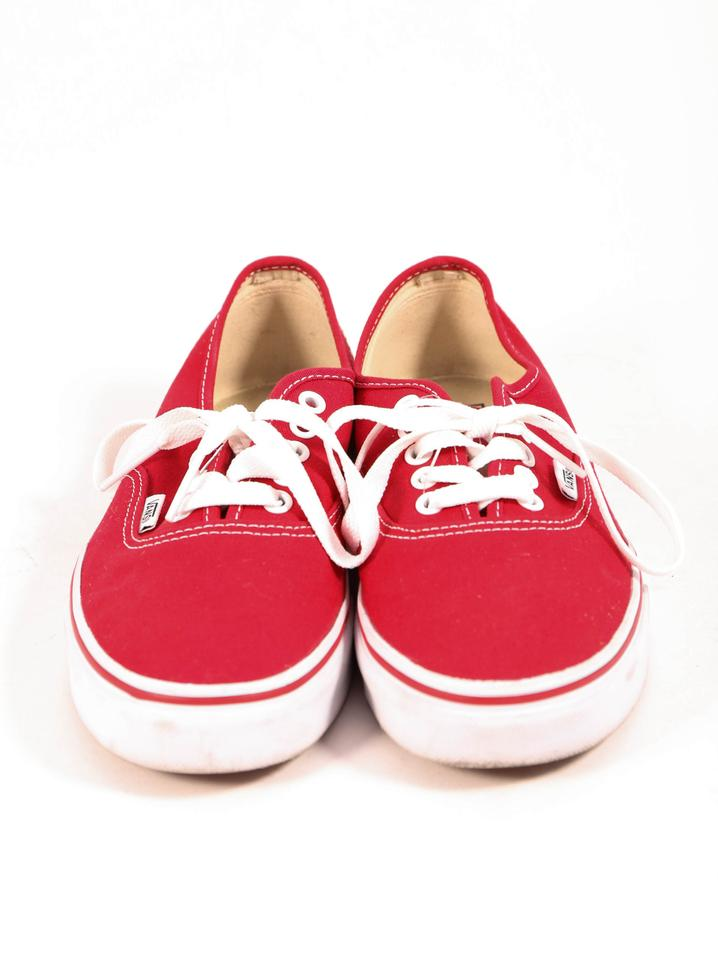 1c23fd81a42349 Vans Skate Sneakers Lace Up White Laces Canvas Rubber Sole White Sole  Womens Mens Unisex Red. 123456
