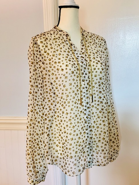 MICHAEL Michael Kors White and Gold Blouse Size 12 (L) MICHAEL Michael Kors White and Gold Blouse Size 12 (L) Image 1