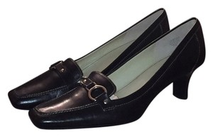 Anne Klein Leather Silver Buckle New Black Pumps