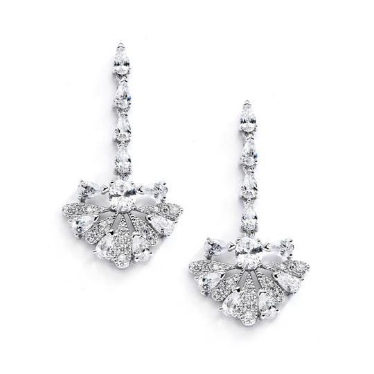 Silver/Rhodium Art Deco Crystal Fan Necklace Earrings Jewelry Sets