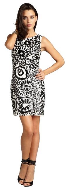 Item - Black and White Sequin Floral 70's Silk Handmade Above Knee Cocktail Dress Size 6 (S)