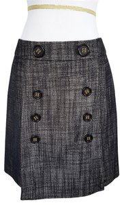 BCBGMAXAZRIA A-line Designer Wool Skirt Black Grey Black Metallic