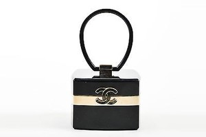 Chanel Fall 2004 Runway Gold Tone Lucite Plexiglass Cc Jewelry Box Satchel in Black