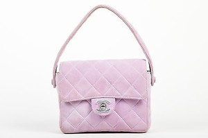 Chanel Lavender Suede Quilted Turn Lock Mini Flap Shoulder Bag
