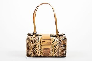 Fendi And Beige Python Leather Box Tote in Brown