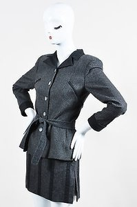 Valentino Vintage Valentino Miss V Gray Wool Cashmere Striped Jacket Skirt Suit Set