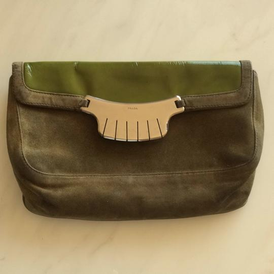Prada Green Patent Leather /suede Clutch