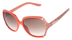 Blumarine New Blumarine SBM-531 Orange Leopard Print Square Sunglasses