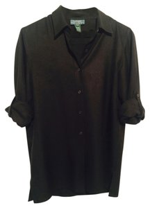 Lauren Ralph Lauren 100% Silk Button Down Shirt Black