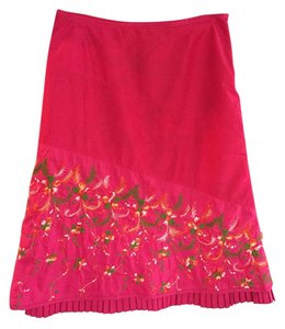 Oilily Embroidered Floral Lined Skirt Pink