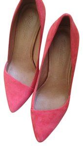 Madewell Red Suede Heel Pointed Toe Pointy Toe Stiletto Black Pumps