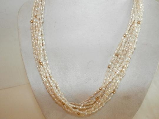Other Fine Natural White Rice Pearl 14K Yellow Gold Multi Strand Bead Necklace