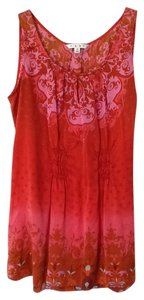 CAbi Ruching Silk Top Red, Pink