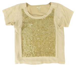 J.Crew Sequins Clothing T Shirt Champagne