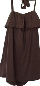 CAbi Float Fit Ruffle Ties At Neck Top brown