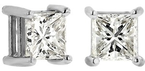 ABC Jewelry 2.00 ct Princess cuts solitsires studs earrings I-J I1 bright 14k white gold