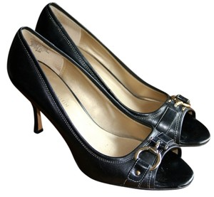 AK Anne Klein Peep Toe Black Pumps