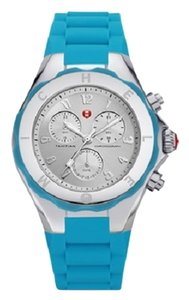 Michele Michele MWW12F000049 Women's Jelly Bean Blue Silver tone Chronograph Dial Silicon Watch NEW! $345