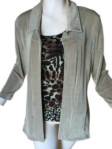 Chico's Chico's Travelers Size 1 Taupe Jacket Pants Tank Top Set Outfit