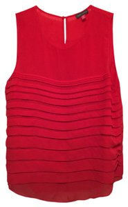 Vince Camuto Horizontal Pleats Top Red