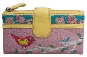 Fossil Leather Wallet Wallets pink/yellow Clutch