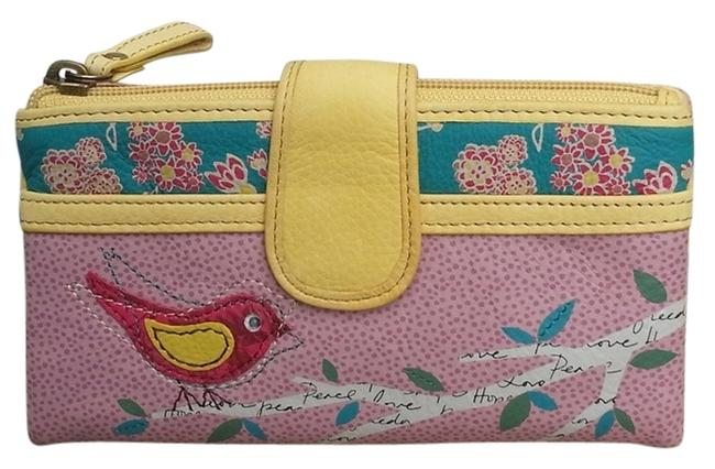Item - Kelly Bird Wallet Pink/Yellow Vintage Soft Leather Clutch