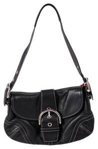 Coach Leather Buckle Silvertone Hardware Shoulder Bag