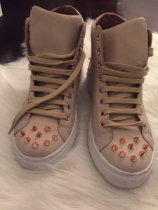 Ruthie Davis High Top Sneaker Leather Spike Studded Beige Athletic