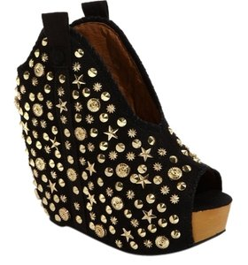 Jeffrey Campbell Kelsey Black Suede and Assorted Gold Studded Wedges