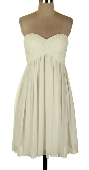 Ivory Strapless Sweetheart Pleated Bust Chiffon Short Formal Dress Size 8 (M) Ivory Strapless Sweetheart Pleated Bust Chiffon Short Formal Dress Size 8 (M) Image 1