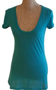 Hollister Roll-up Sleeve Scoop-neck Scoop-neck Deep Scoop Neck T Shirt Turquoise