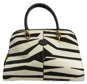 Tod's Bauletto Sella Pony Hair Satchel in Black & White