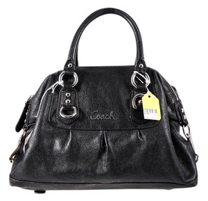Coach Leather Double Handle Silvertone Hardware Shoulder Bag