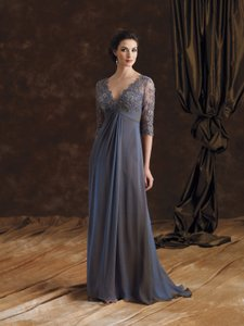 Montage Midnight Chiffon and Beaded Lace 29980 Formal Bridesmaid/Mob Dress Size 16 (XL, Plus 0x)