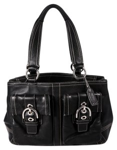 Coach Leather Satchel Buckle Tote Shoulder Bag