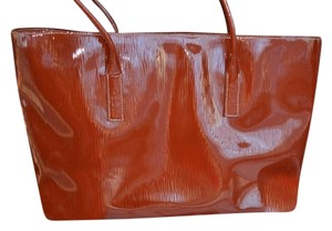 Prada Glossy Shoulder Tote in Cotto