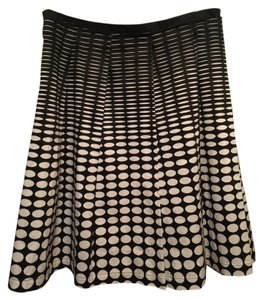 Calvin Klein Pleated Geometric Print Flare Skirt Black and White